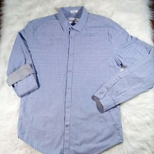 Calvin Klein Men Blue Button Front Shirt Med